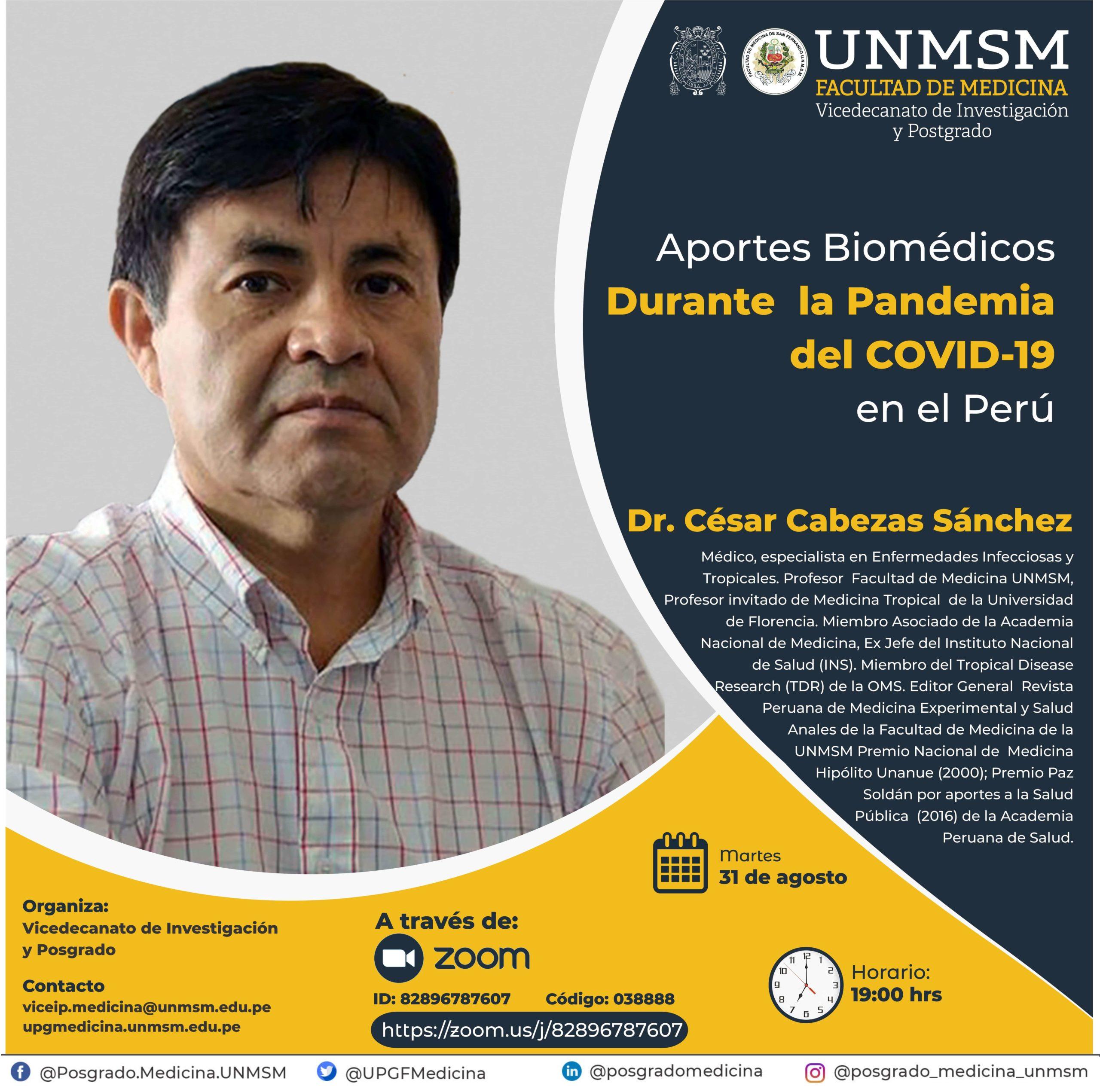 Conferencia: Aportes biomédicos durante  la Pandemia del COVID-19 en el Perú